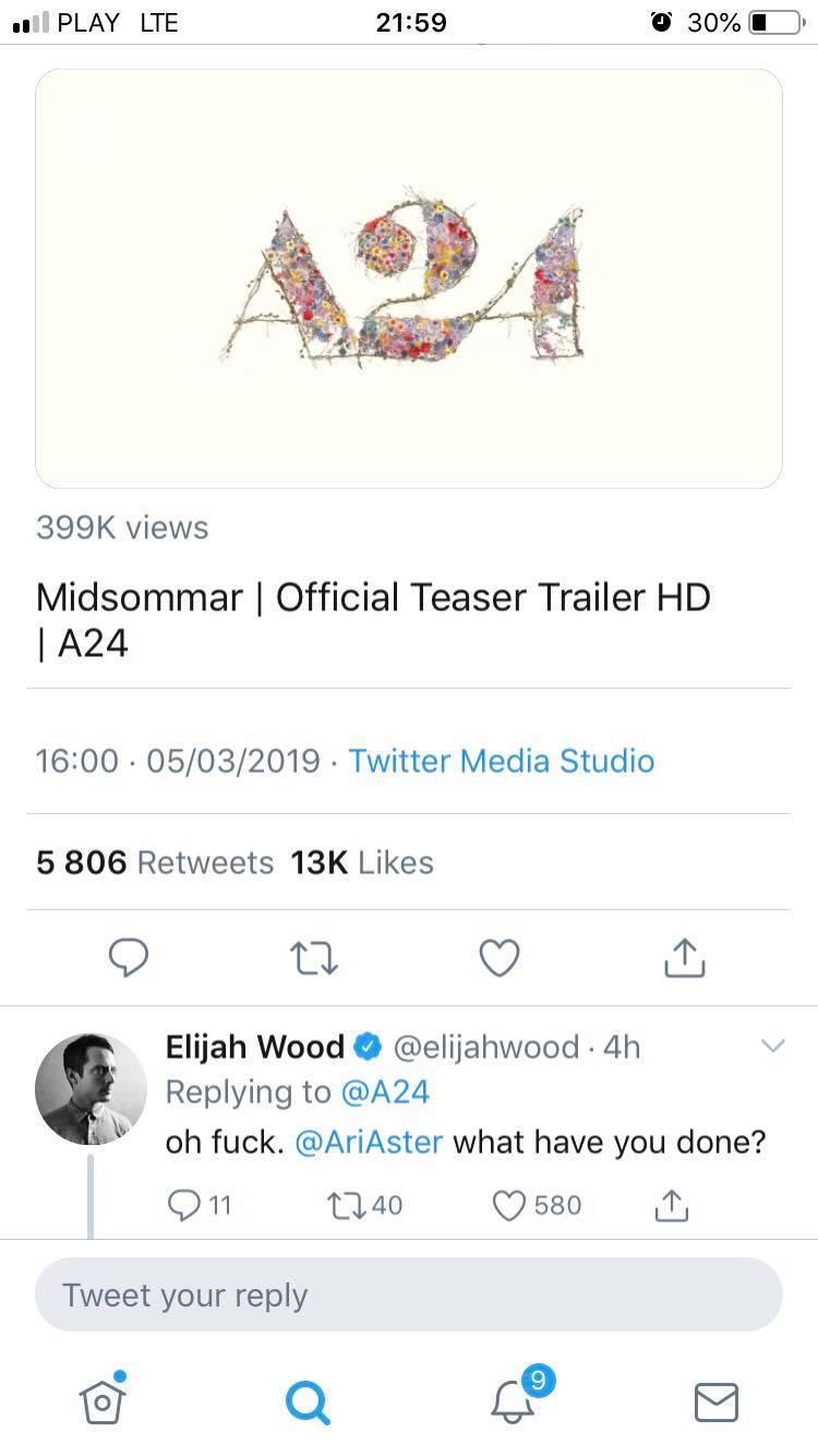 midsommar (2019) twitter elijah wood