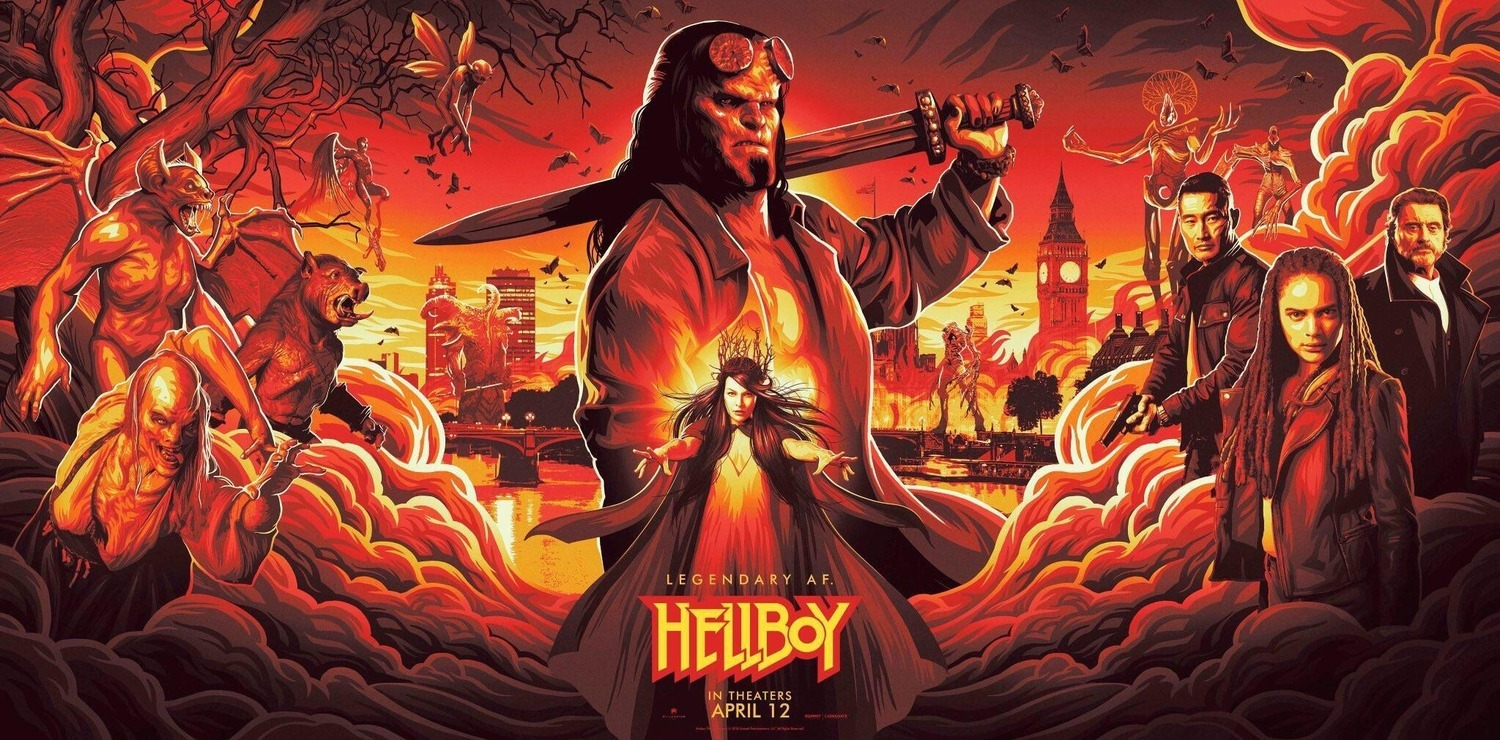 hellboy (2019) by neil marshall movie poster with david harbour