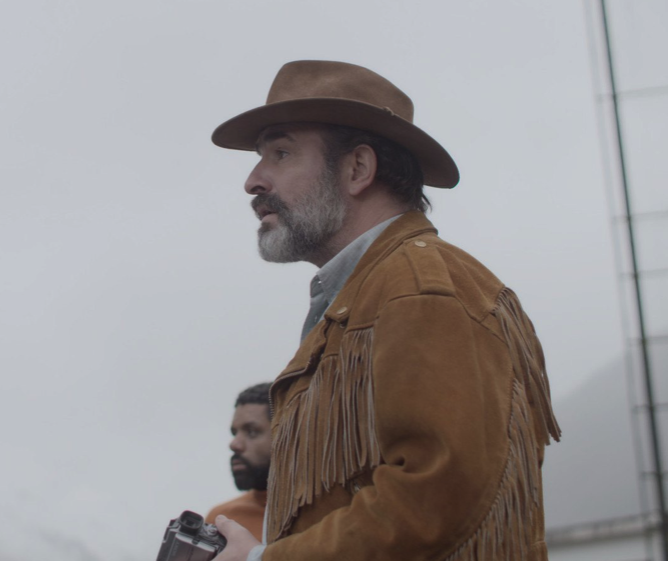 Still from Deerskin by Quentin Dupieux starring Jean Dujardin - cultural hater