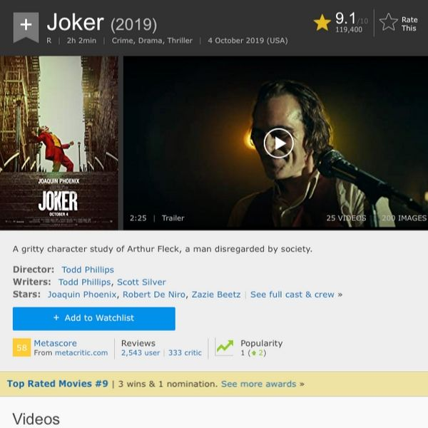 joker ranked 9th on the best of all time on imdb
