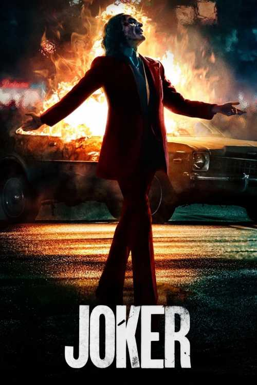 Joker poster with flames in the background