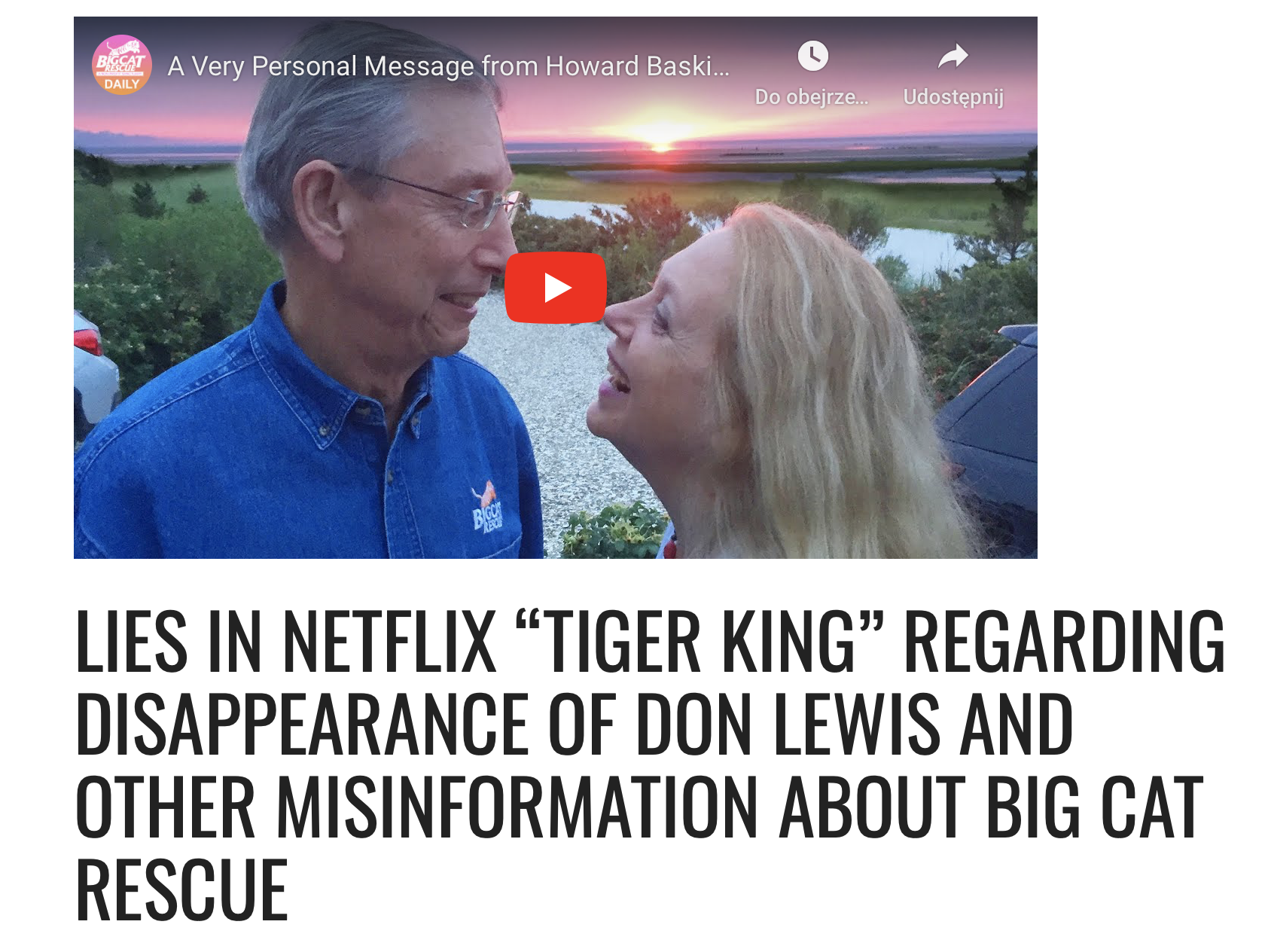 big cat rescue message about tiger king (2020) screenshot cultural hater