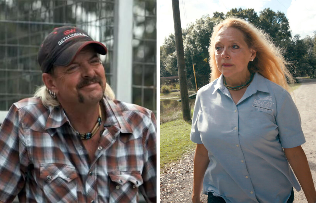 joe exotic and Carole Baskin in Tiger King (2020) - Netflix show analysis