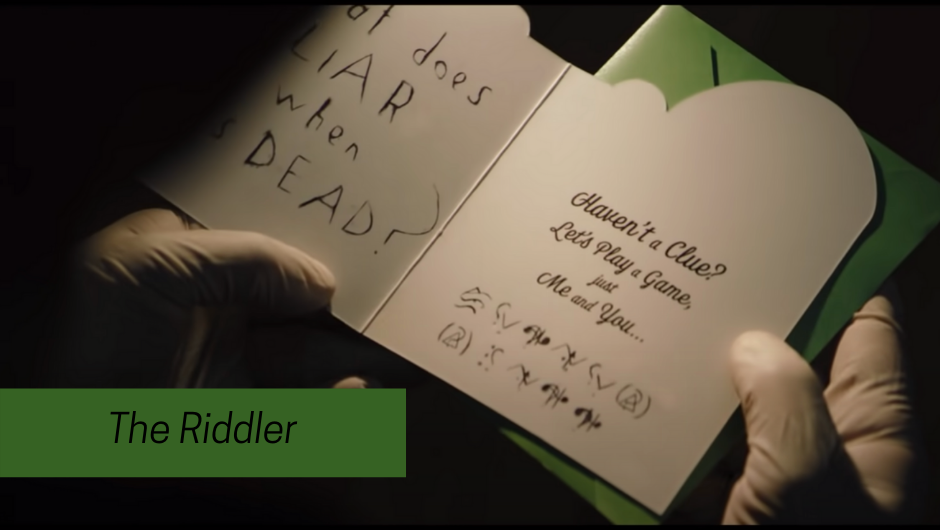 THe Riddler's clue in batman 2021