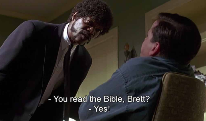 dialogue in pulp fiction - scene starring Samuel l. Jackson